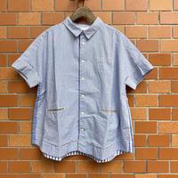 ブルーパッチワーク フレンチ半袖シャツ 12S-02 / 快晴堂
