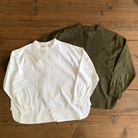 60'S ORGANIC CAMBRIC BACK OPENING STAND COLLAR SHIRT NMDS16551  / maison de soil