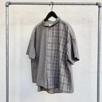 30/1綿麻チェック&ストライプ パターンミックスラウンドカラーワイドシャツ P82110 / prit