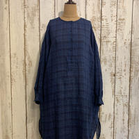 LONG PULLOVER SHIRT DRESS (DK.INDIGO×Lt. INDIGO CHECK) / maison de soil