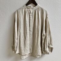 リネンWガーゼ ギャザースタンドシャツ / NATURAL LAUNDRY