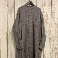 DOUBLE GAUZE OVER DYE UTILITY BANDED COLLAR LONG SHIRT INAM1972DGD / ARMEN