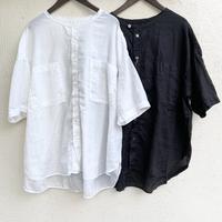 80/1綿ピンチェックドビー 5分袖バンドカラービッグシャツ P82144 / prit