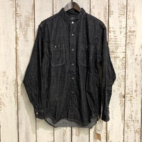 STAND COLLAR LONG SLEEVE SHIRT (Black Denim)  01-8057 / orSlow