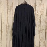 80'S ORGANIC STRIPE(HAND DYED) BANDED SHIRT DRESS WITH MINI PINTUCK / maison de soil