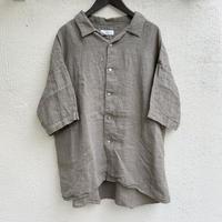 60/1リネンちりめん 5分袖開襟ワイドシャツ P82107 / prit