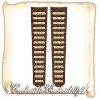 チョコレートボーダー オーバーニーソックス(ホワイト×チョコ)
