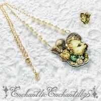 Bonnet Cat Necklace  ring set