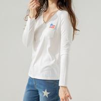 1810109 ワッペン付きVネック長袖Tシャツ