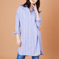 1910607   ストライプスワロ×刺繍ロングシャツ