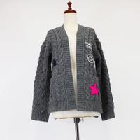 1904212  手編み刺繍カーディガン