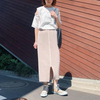 PIPING PILE SKIRT〈BEIGE〉