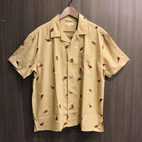 フラミンゴ柄 オープンカラーシャツ 19723