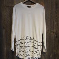 裾英字ロングTシャツ(サイドジッパー付き)