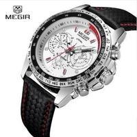 Megir クラシカル クロノグラフ 発光 防水 レザー 海外人気有名 ブランド 編み込みバンド クォーツ 腕時計 ホワイト