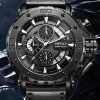 BREAK ミリタリー レザー クロノグラフ 発光 防水 海外人気 カジュアル クォーツ腕時計ミリタリー メンズ ブラック