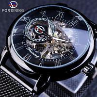 FORSINING 手巻き式 レトロファッション ブラックスケルトン スポーツ時計 機械式 大人気の高級時計