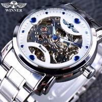 T-WINNER レトロカジュアル スケルトン メンズ腕時計 海外トップブランド 高級機械式時計(ホワイトブルー)