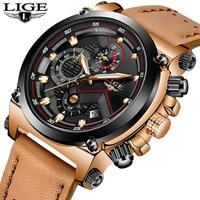 LIGE 高級 クオーツ 腕時計 メンズ  レザー スポーツ 防水 ビジネス フォーマル 選べる5色