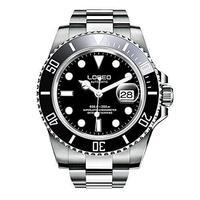 LOREO メンズ高級腕時計 輝くシルバー/クロノグラフ/水深200m防水/自動巻き/ステンレススチール