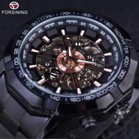 FORSINING 自動巻き スポーツ レーシング スケルトン ステンレス鋼 機械式 高級 メンズ 腕時計