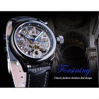 FORSINING スケルトン時計 ブルー 本革 王冠デザイン 機械式時計 秒針発光