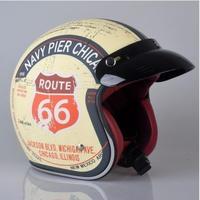 高品質 ビンテージ バイク ジェット ヘルメット ハーレー等に ルート66 サイズ選択可