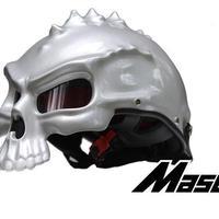 ドクロ スカル スタイル ヘルメット 半ヘル スノボ スノーボード ハーフ バイク キャップ おもしろ 目立つ M L XL  シルバー