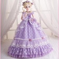 球体関節人形 BJD 衣装付き お姫様 お嬢様 女の子 プリンセスドール 60cmかわいいフランス人形/西洋人形/SD 金髪 紫ドレス 気品 上品
