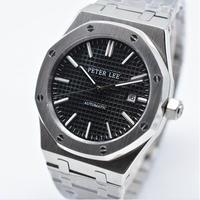 Peter lee 自動巻き 機械式腕時計 メンズ 40mm ステンレス ブラック 2122