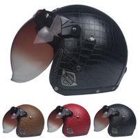 レザー ヘルメット 茶 アメリカン カフェレーサージェットヘルメット クロコダイル ゴーグル バイザー バイカー モトクロス DOT