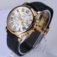 Forsining 機械式 腕時計 自動巻き メンズ レザーストラップ カレンダー付 ビジネス 上品 デザイン