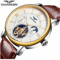 Guanqin トゥールビヨン 腕時計 スケルトン サファイア クリスタル メンズ 自動巻き 機械式 レザー ベルト