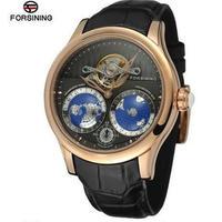 Forsining メンズ 機械式 腕時計 自動巻 レザー 地球柄 高級ブランド 世界 時計