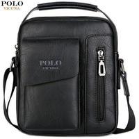 VICUNA POLO 海外人気 ブランド 男性 メンズ クロス ボディバッグ ショルダー バッグ ファスナー レザー 鞄 ポケット 黒色