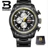 BINGER メンズ 腕時計 クロノグラフ 革 高級 デザイン 海外モデル クォーツ ビジネス フォーマル