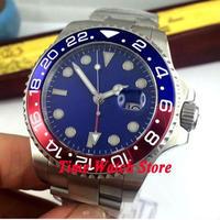 Bliger 43mm 自動巻き 機械式腕時計 メンズ サファイアガラス 人気の赤青ベゼル