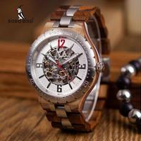 木製腕時計 BOBO BIRD  メンズ 高級感 機械式 スケルトン 天然木 自動巻き 斬新デザイン 選べる2色