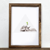 Moonfish「グラフィック」A4  ポスター + アンティーク 木製 フレーム