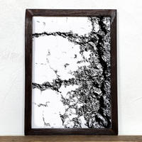 「モノクロアート Mono.3」A4 モノトーン ポスター & 木製 アンティーク 額縁 セット