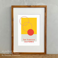 A4サイズ ポスターアート + A3サイズ額縁 西海岸 カリフォルニア The Sun