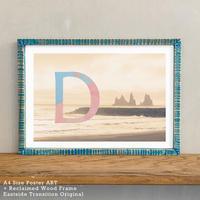「Alphabetical D」 北欧 インテリアポスター A4 + ポスターフレーム アンティーク 部屋 飾り 壁飾り インテリア 廊下 階段 寝室 子供部屋