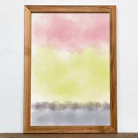 Untitled「水彩」 A4 プリント ポスター アート + 木製 アンティーク 額縁 No.122