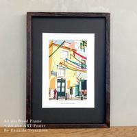 It's all about Portugal「グラフィック」No.5 ポスター アート A4 + 古材 フレーム A3 セット 玄関 寝室 オフィス インテリア