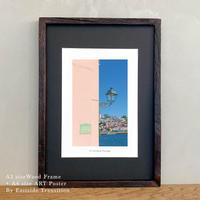 It's all about Portugal「グラフィック」No.12 ポスター アート A4 + 古材 フレーム A3 セット 玄関 寝室 オフィス インテリア