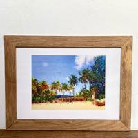 wind surf「オイルペイント」  A4 ポスター アート & 木製 アンティーク 額縁