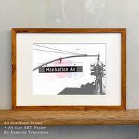 ポスターアート A4サイズ + A3サイズ額縁 ニューヨーク Manhattan Av ブルックリン