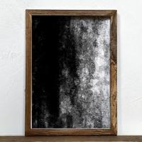 「モノクロアート Mono.2」A4 モノトーン ポスター & 木製 アンティーク 額縁 セット