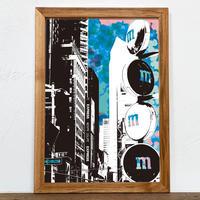 古材フレーム + A4 プリント ポスター 壁掛け アート 【 ニューヨーク Ambivalent no.2 】