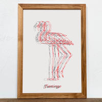 Flamingo「Drawing - アート」A4  ポスター + 古材 フレーム セット商品